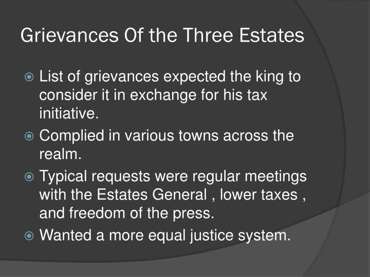 Grievances Of the Three Estates