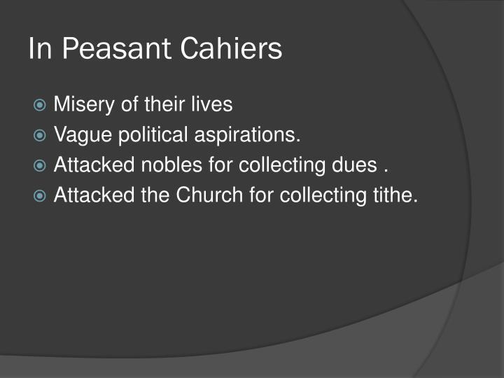 In Peasant Cahiers