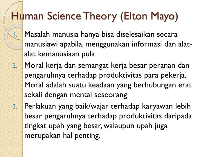 Human Science Theory (Elton Mayo)