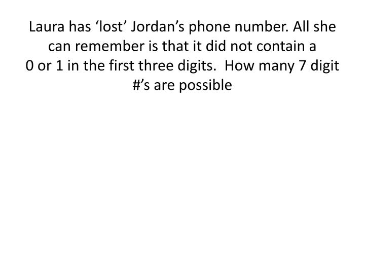 Laura has 'lost' Jordan's phone number. All she can remember is that it did not contain a