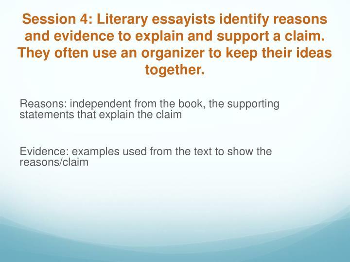 Session 4: Literary essayists identify reasons