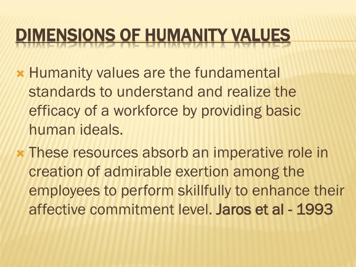 Humanity values are the fundamental standards to understand and realize the efficacy of a workforce by providing basic human ideals.