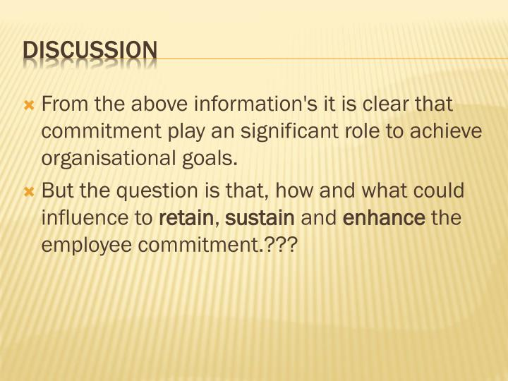 From the above information's it is clear that commitment play an significant role to achieve organisational goals.