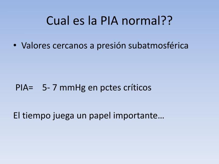 Cual es la PIA normal??