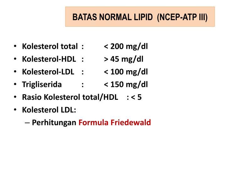 BATAS NORMAL LIPID