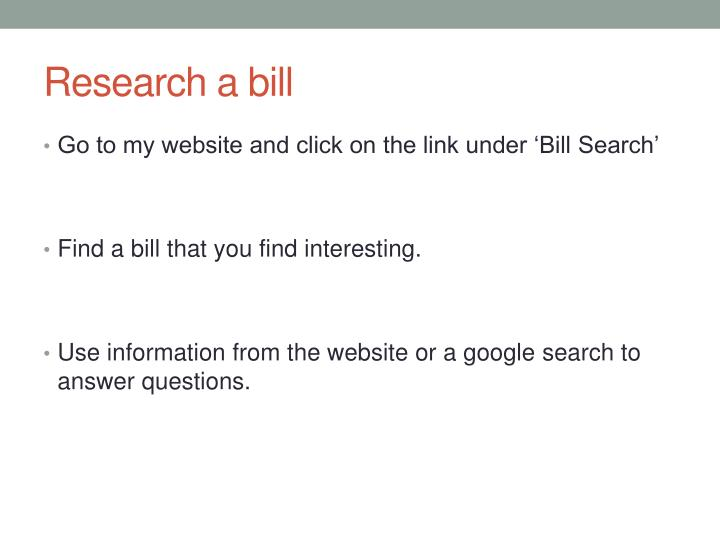 Research a bill