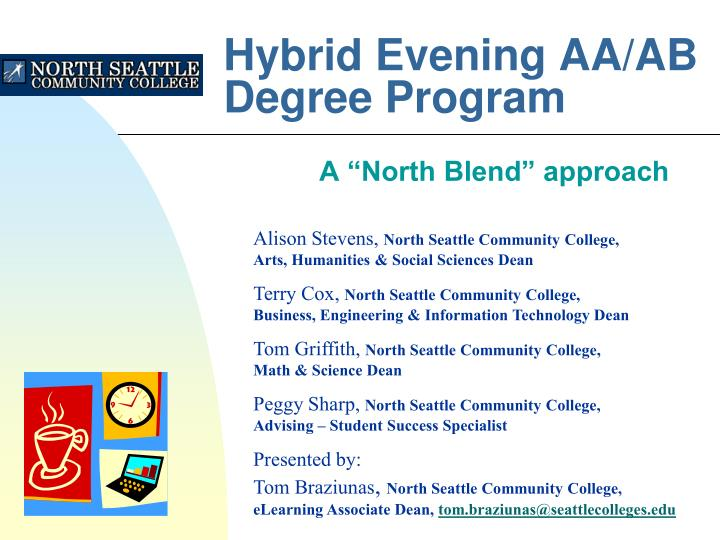 Hybrid evening aa ab degree program