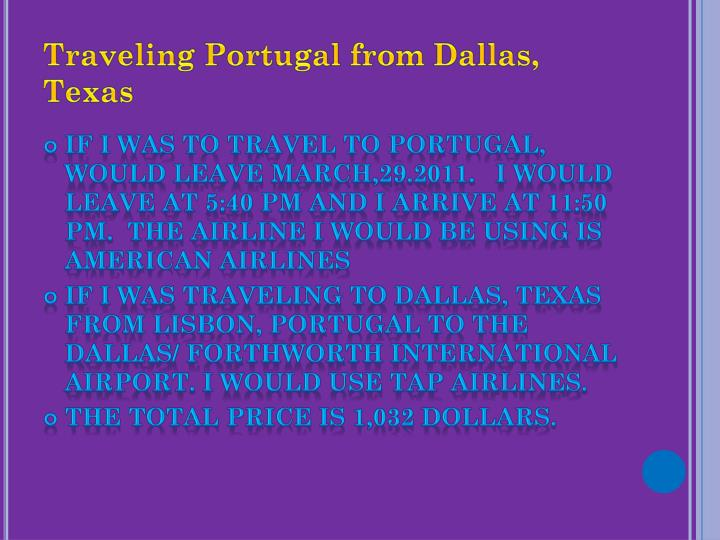 Traveling Portugal from Dallas, Texas