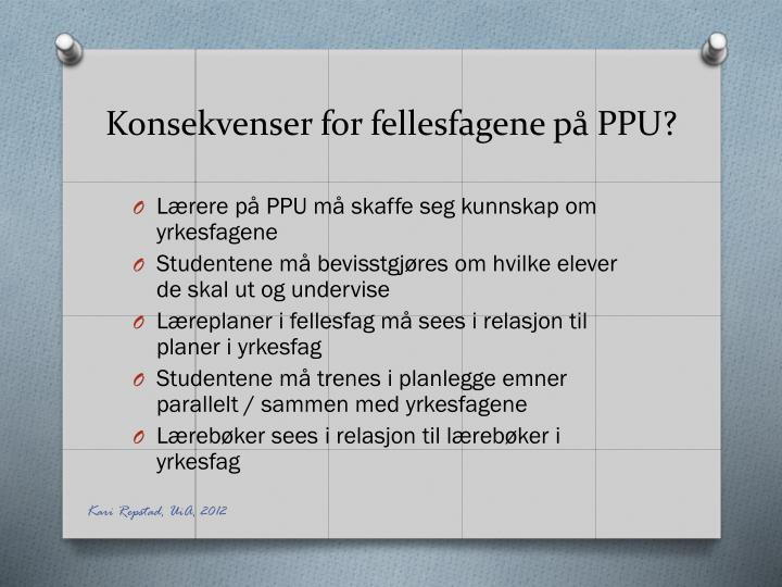 Konsekvenser for fellesfagene på PPU?