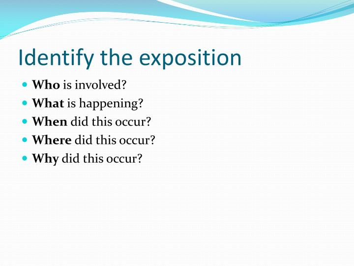 Identify the exposition