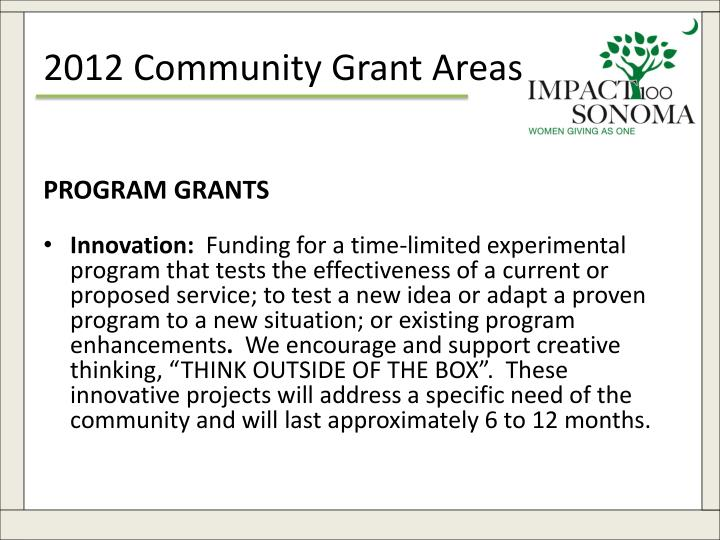 2012 Community Grant Areas