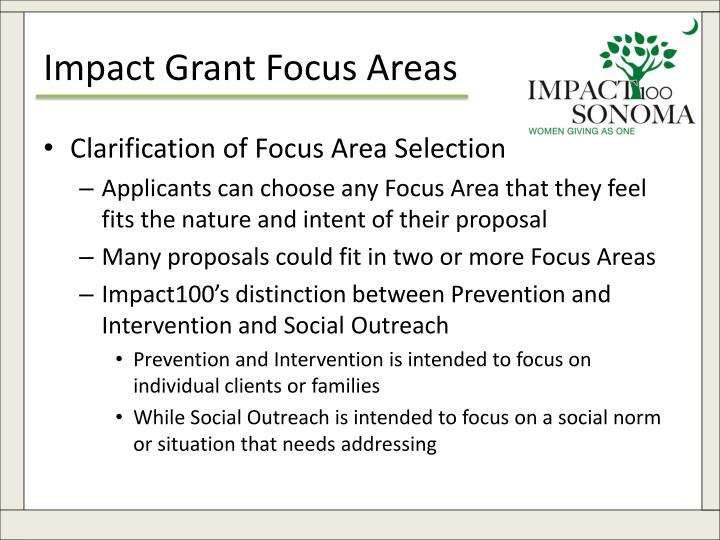 Impact Grant Focus Areas