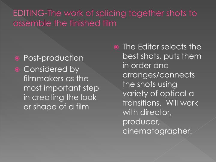 Editing the work of splicing together shots to assemble the finished film