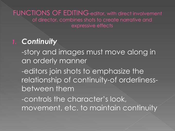 FUNCTIONS OF EDITING