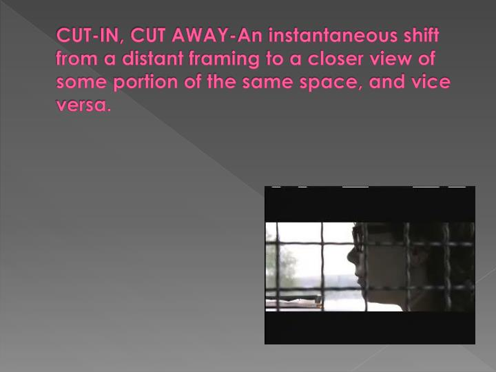 CUT-IN, CUT AWAY-An instantaneous shift from a distant framing to a closer view of some portion of the same space, and vice versa.