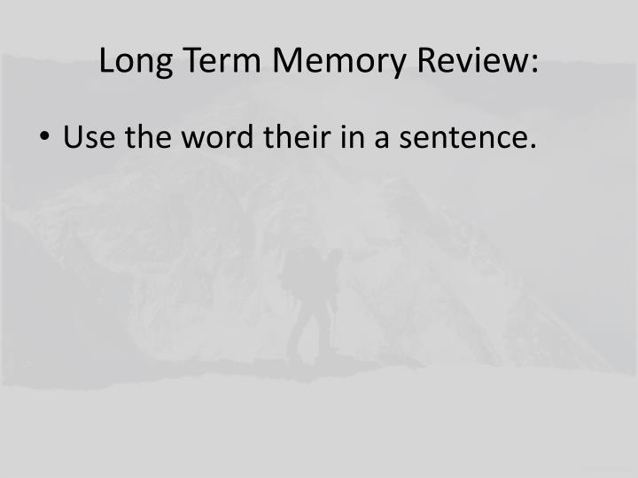 Long Term Memory Review: