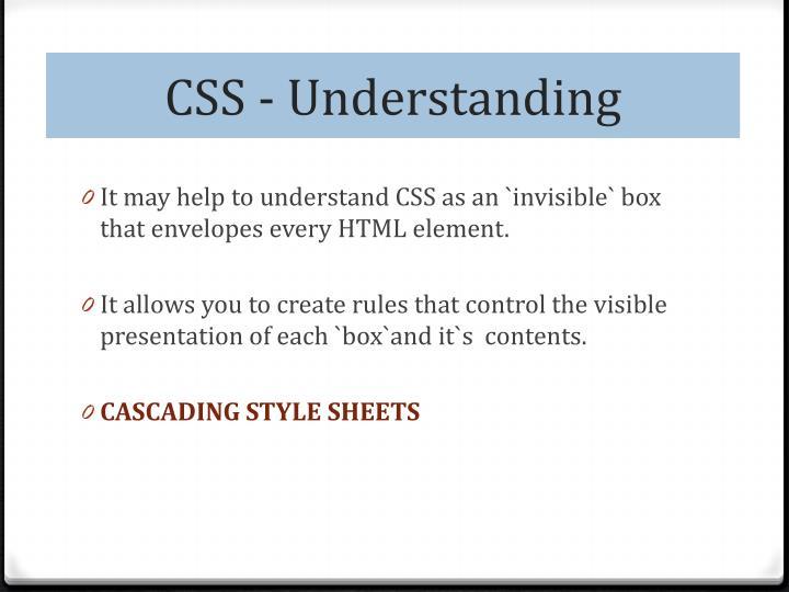 CSS - Understanding