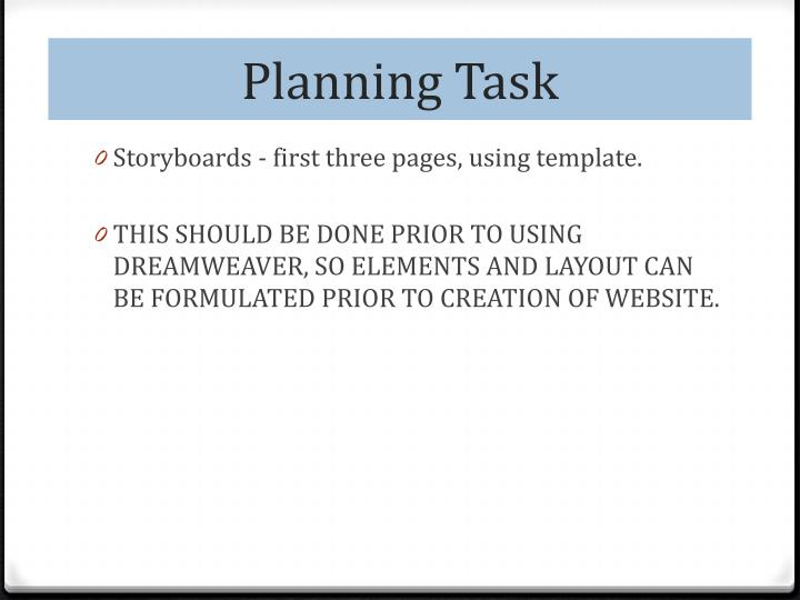 Planning Task