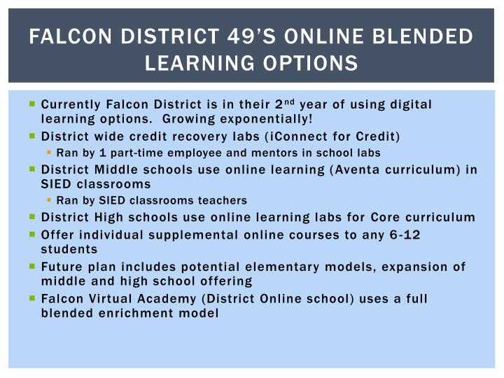 Falcon District 49's online blended learning options