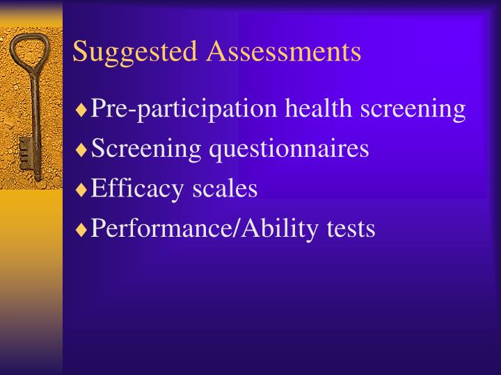 Suggested Assessments
