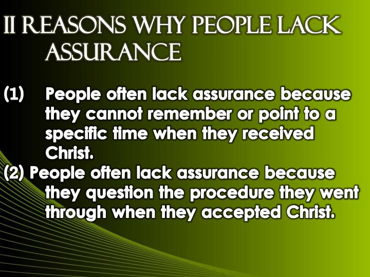 II Reasons Why People Lack Assurance