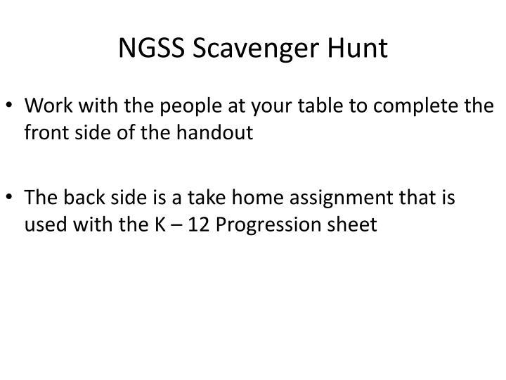 NGSS Scavenger Hunt