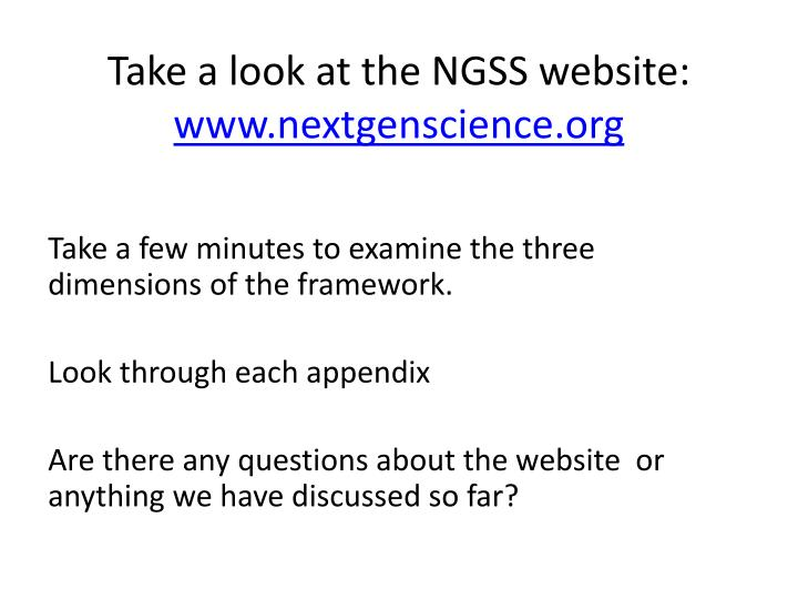 Take a look at the NGSS website: