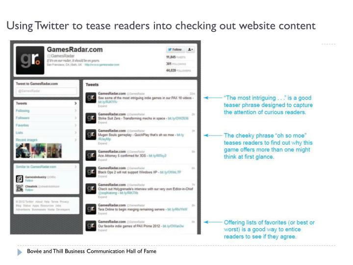 Using twitter to tease readers into checking out website content