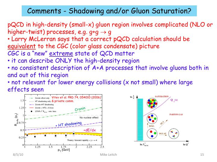 Comments - Shadowing and/or Gluon Saturation?