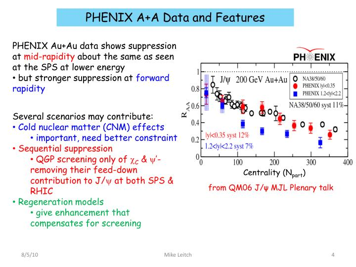 PHENIX A+A Data and Features