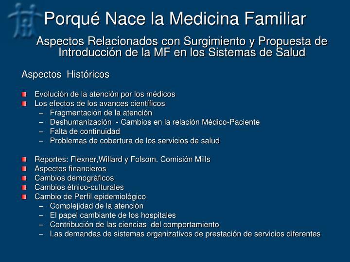 Porqué Nace la Medicina Familiar