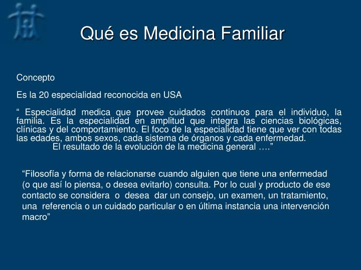 Qu es medicina familiar