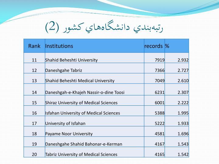 رتبهبندي دانشگاههاي کشور (2)