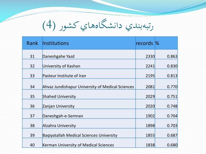 رتبهبندي دانشگاههاي کشور (4)