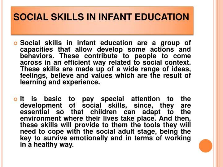SOCIAL SKILLS IN INFANT EDUCATION