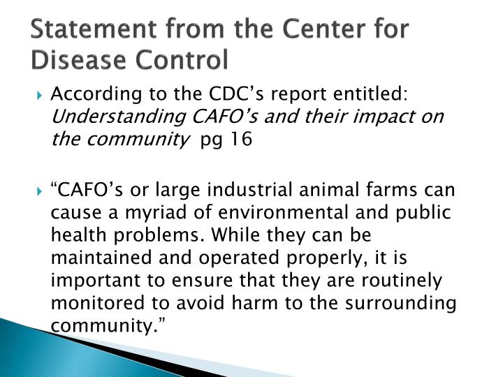 Statement from the Center for Disease Control