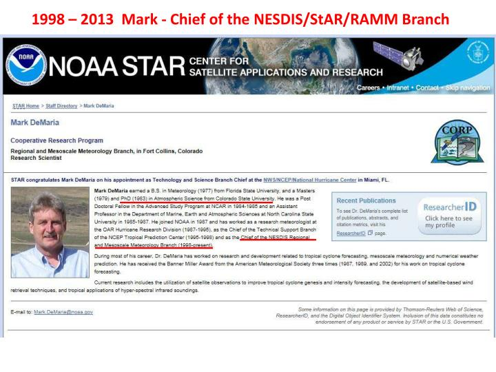 1998 – 2013  Mark - Chief of the NESDIS/StAR/RAMM Branch