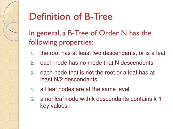 Definition of B-Tree