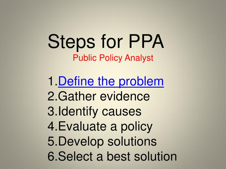 Steps for PPA