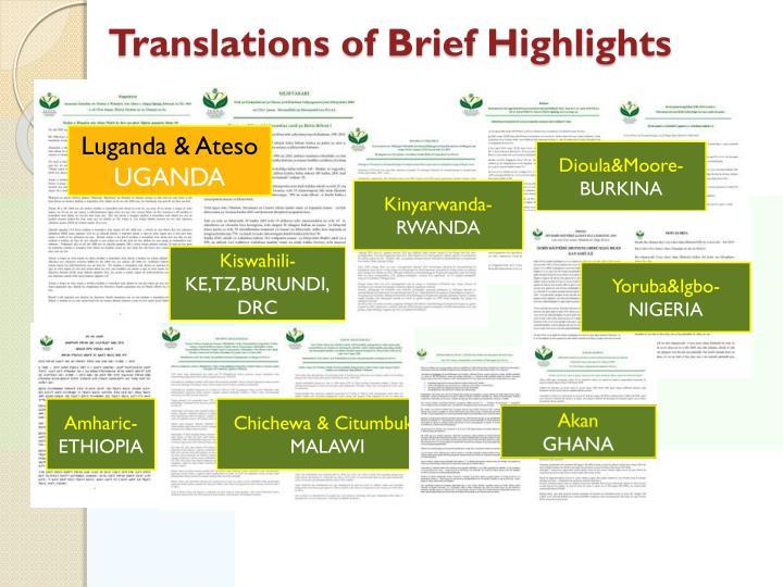 Translations of Brief Highlights