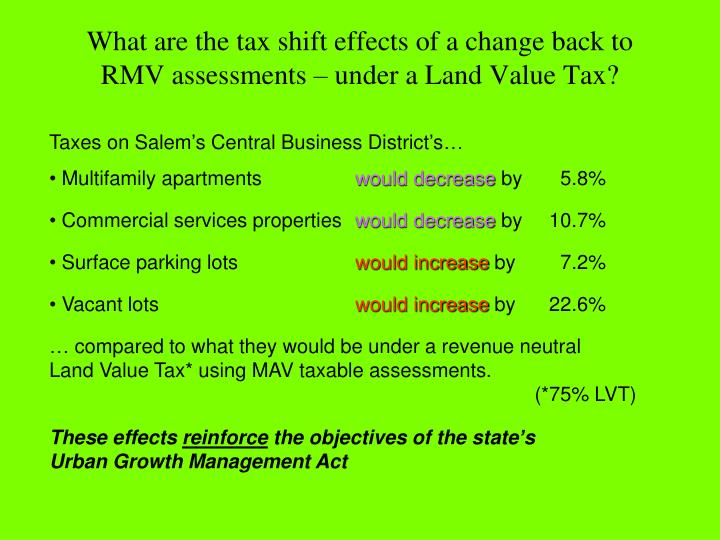 What are the tax shift effects of a change back to