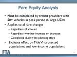 fare equity analysis
