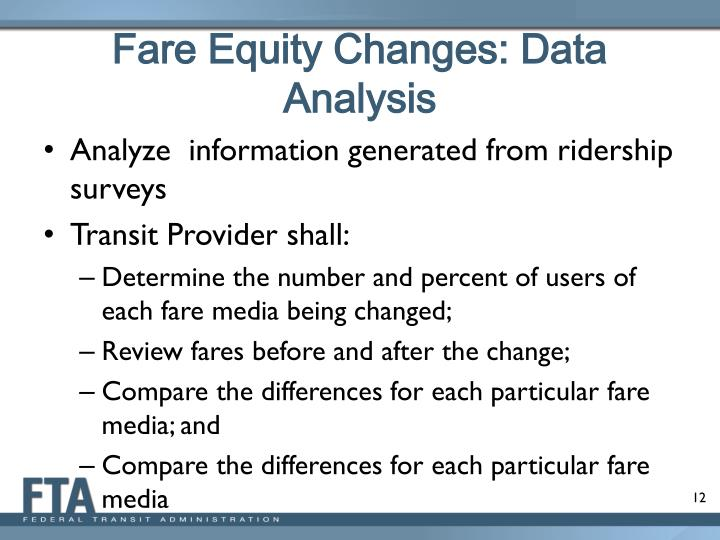 Fare Equity Changes: Data Analysis