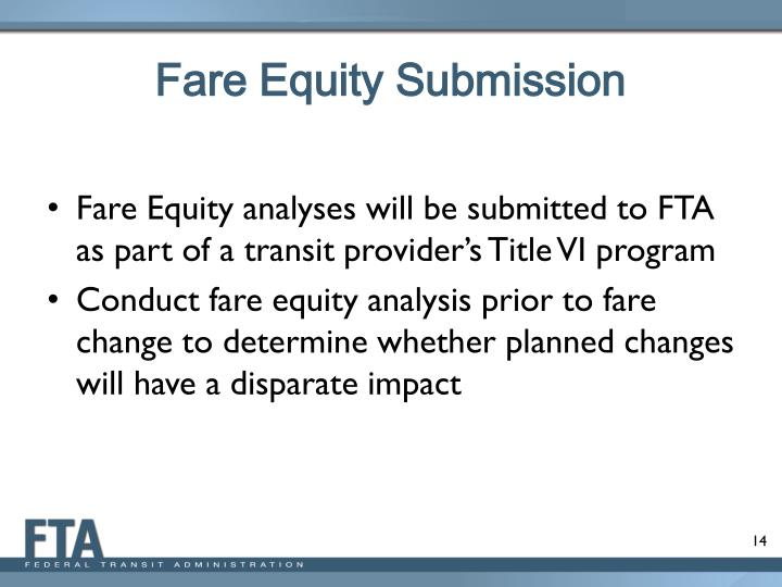 Fare Equity Submission