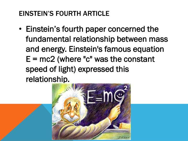 Einstein's Fourth Article