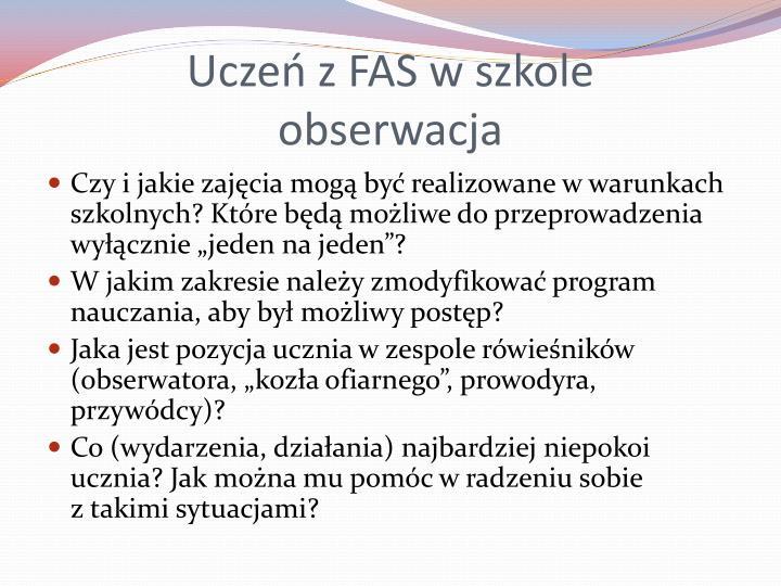 Uczeń z FAS w szkole
