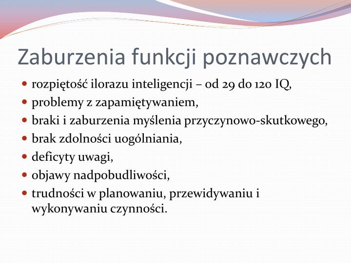 Zaburzenia funkcji poznawczych