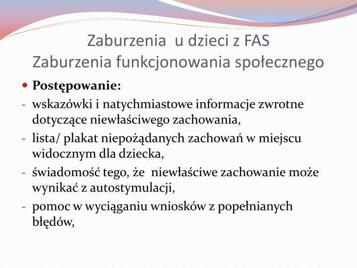 Zaburzenia  u dzieci z FAS