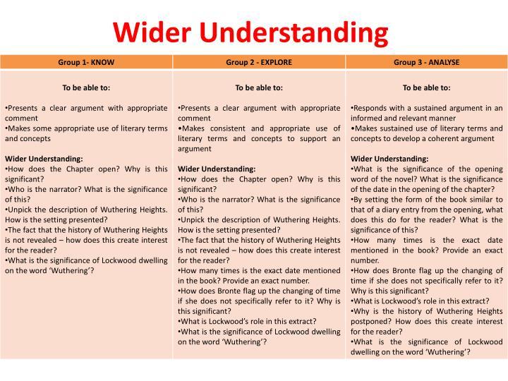 Wider Understanding
