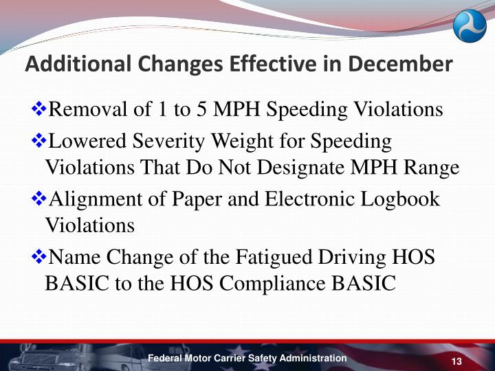 Additional Changes Effective in December